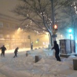snowball fight during recent blizzard